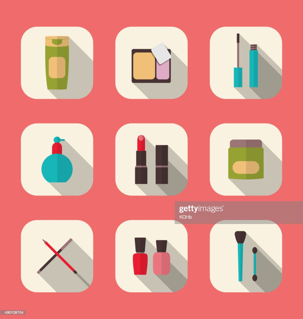 Set beauty and makeup icons with long shadow