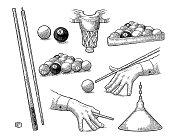 Set billiard. Stick, balls, chalk, pocket and lamp.Vintage black engraving