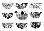 Set bird nests icons
