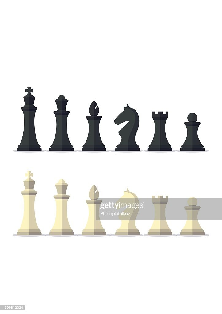 Set black and white chess pieces isolated on background.