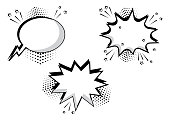 Set black and white comic bubbles for your text. Comic sound effects in pop art style. Sound bubble speech with word and comic cartoon expression sounds illustration. Vector illustration.