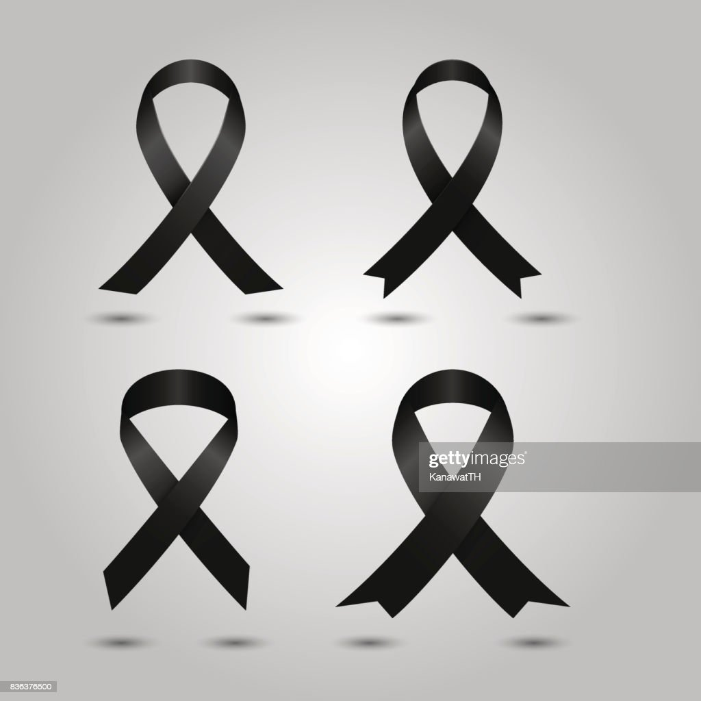 Set Black awareness ribbon vector. Mourning and melanoma symbol