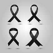 Set Black awareness ribbon vector. Mourning and melanoma symbol