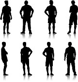 Set Black silhouette man standing, people on white background