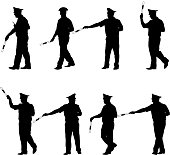 Set black silhouettes  Police officer  with a rod