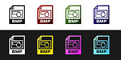 Set BMP file document icon. Download bmp button icon isolated on black and white background. BMP file symbol. Vector Illustration