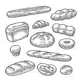 Set bread. Vector black vintage engraving