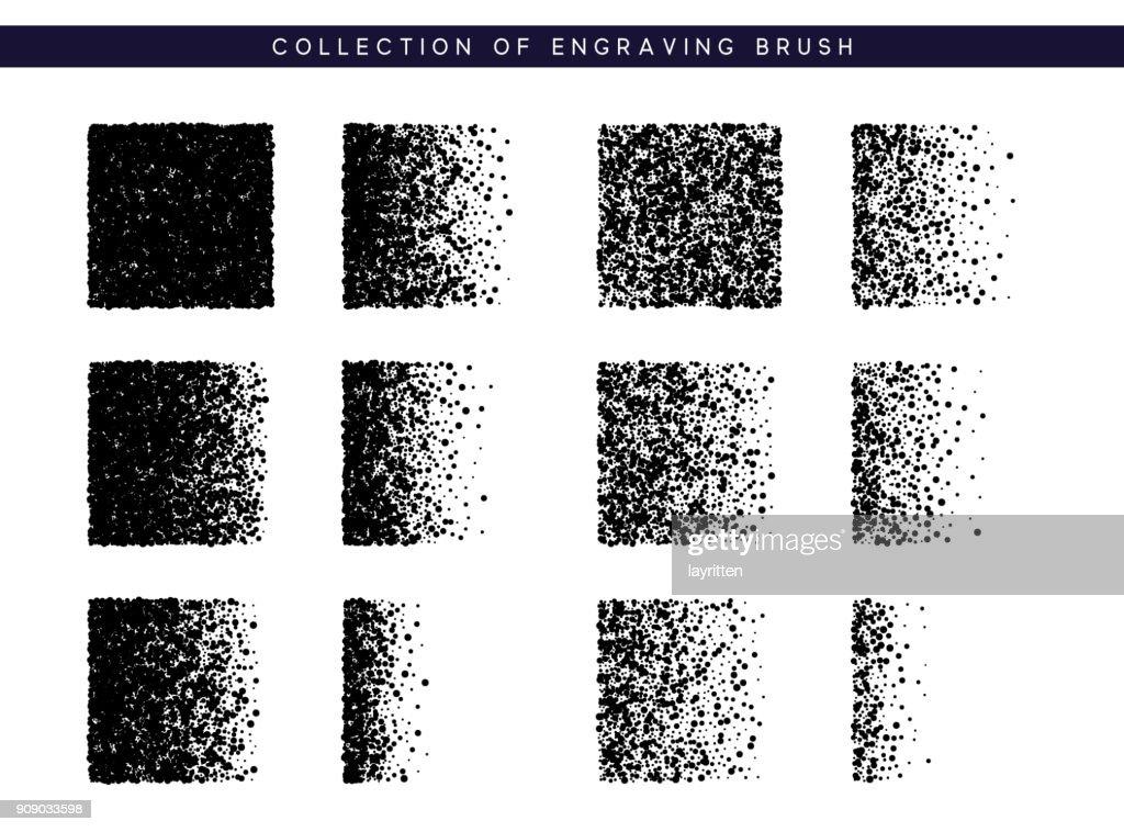 Set Brush stipple pattern for design. Dots black texture