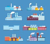 Set buildings: industrial, chemical, helium plants, oil, administrative building, hospital