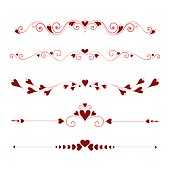 Set Calligraphic Valentine's Day  Elements