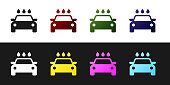 Set Car wash icon isolated on black and white background. Carwash service and water cloud icon. Vector Illustration