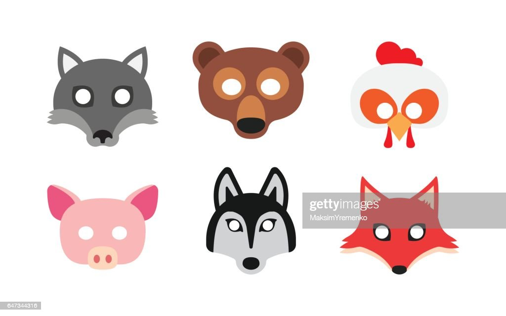 Set carnival masks animals