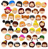 Set cartoon children head