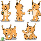 Set cartoons cubs of a lynx