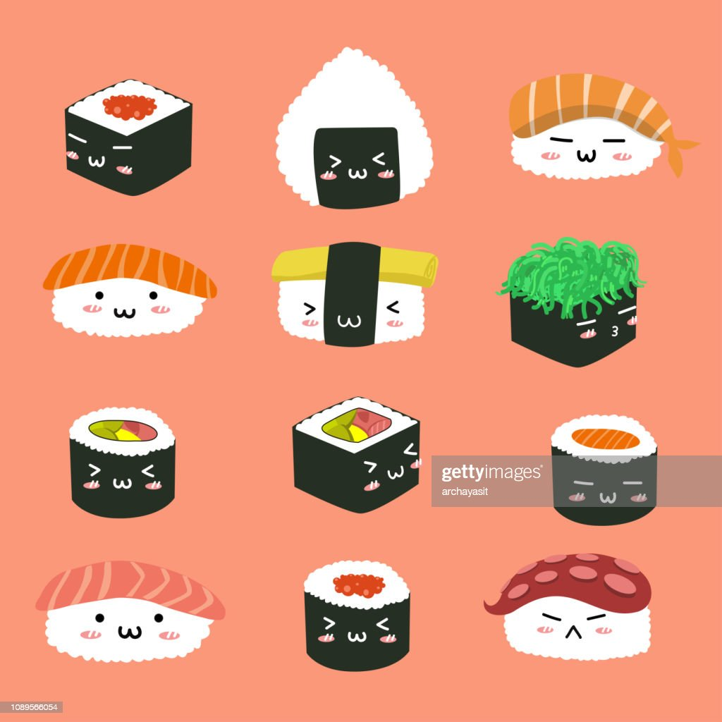 Set character variety of sushi.