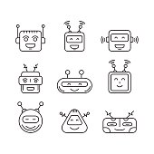 Set Chat bot vector icon faces
