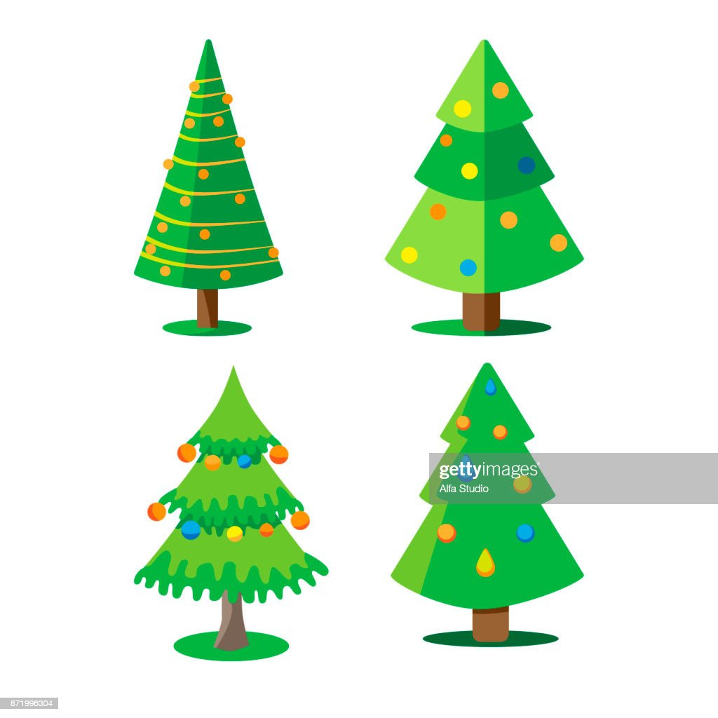 Set Christmas Trees Decorated With Christmas Balls Vector ...