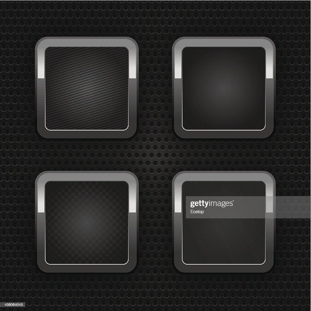 Set chrome blank web buttons, industrial sheet