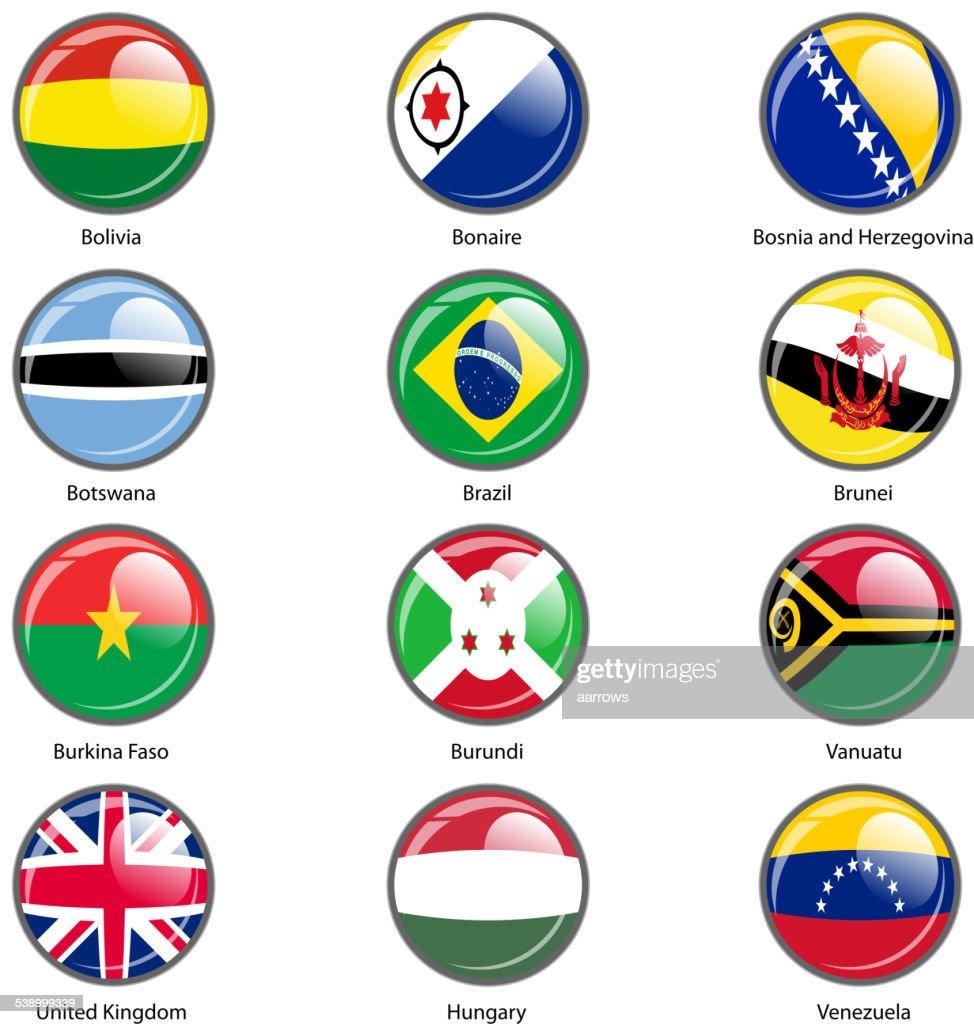 Set circle icon  Flags of world sovereign states.