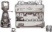 Set coffee making equipment. Coffeemaker and grinder.