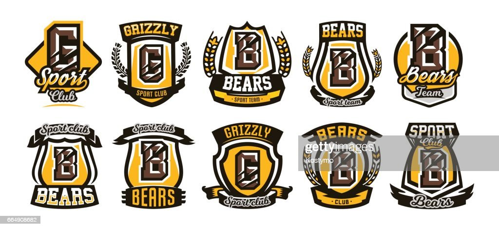 Set, collection of colorful symbols, emblems, letter the scratched claw angry bear, grizzly. Vector illustration, dynamic and sporty style, printing on T-shirts