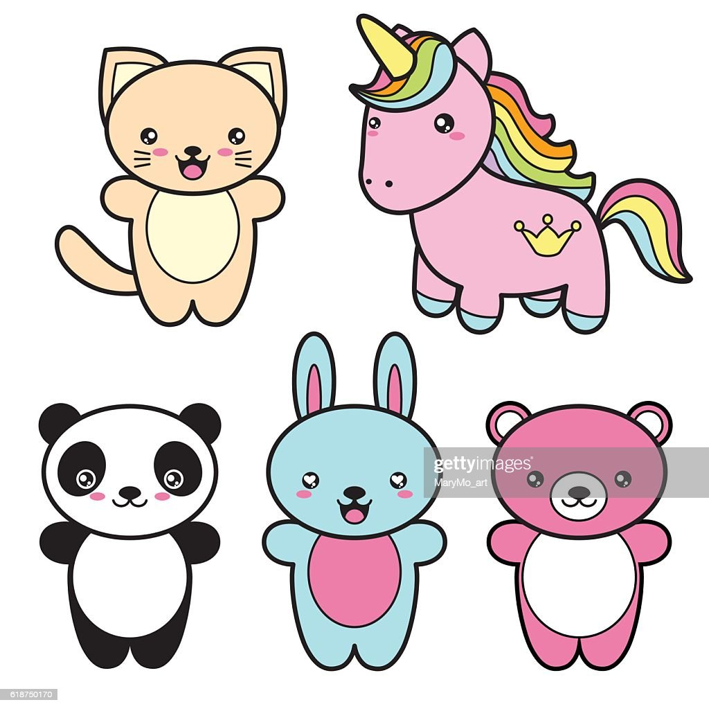 Set collection of cute kawaii style happy smiling animals.