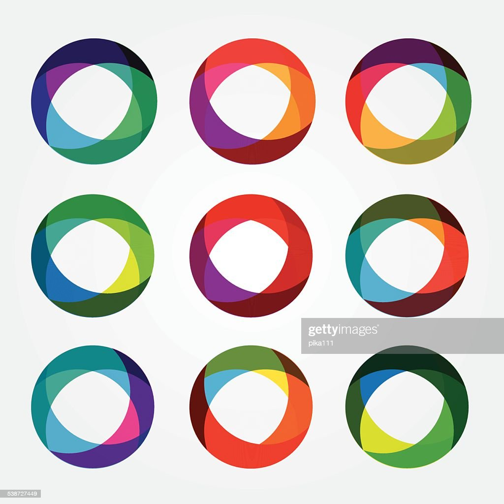 set collection of trendy multicolored overlapping transparent circle shaped icons