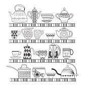 set collection with a tea pot, tea cups on the shelves