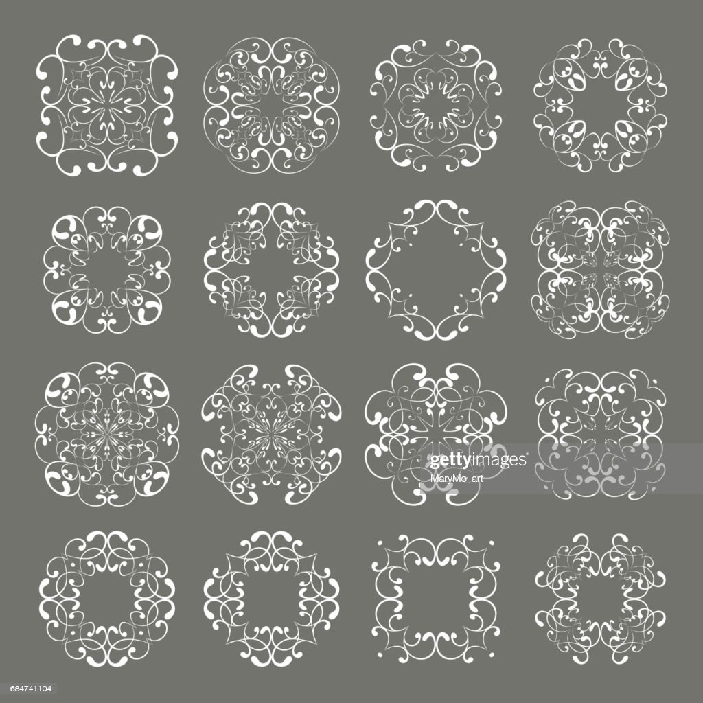 set collections of ornamental lacy designs