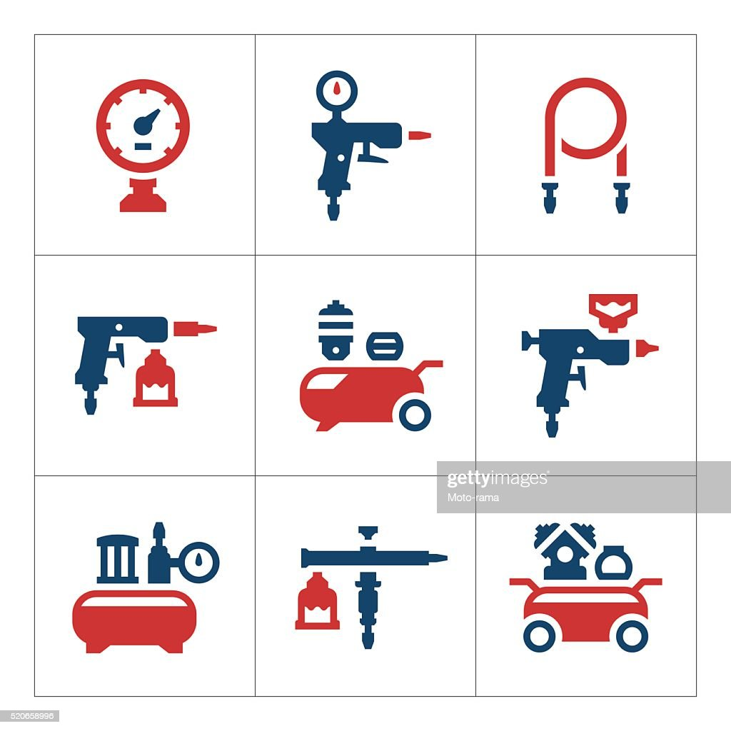 Set color icons of compressor and accessories