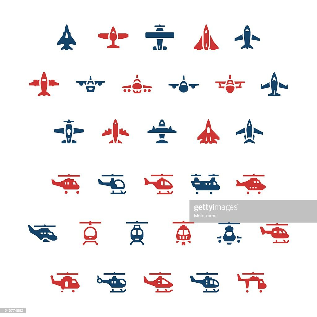 Set color icons of planes and helicopters