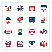 Set color icons of ventilation and conditioning