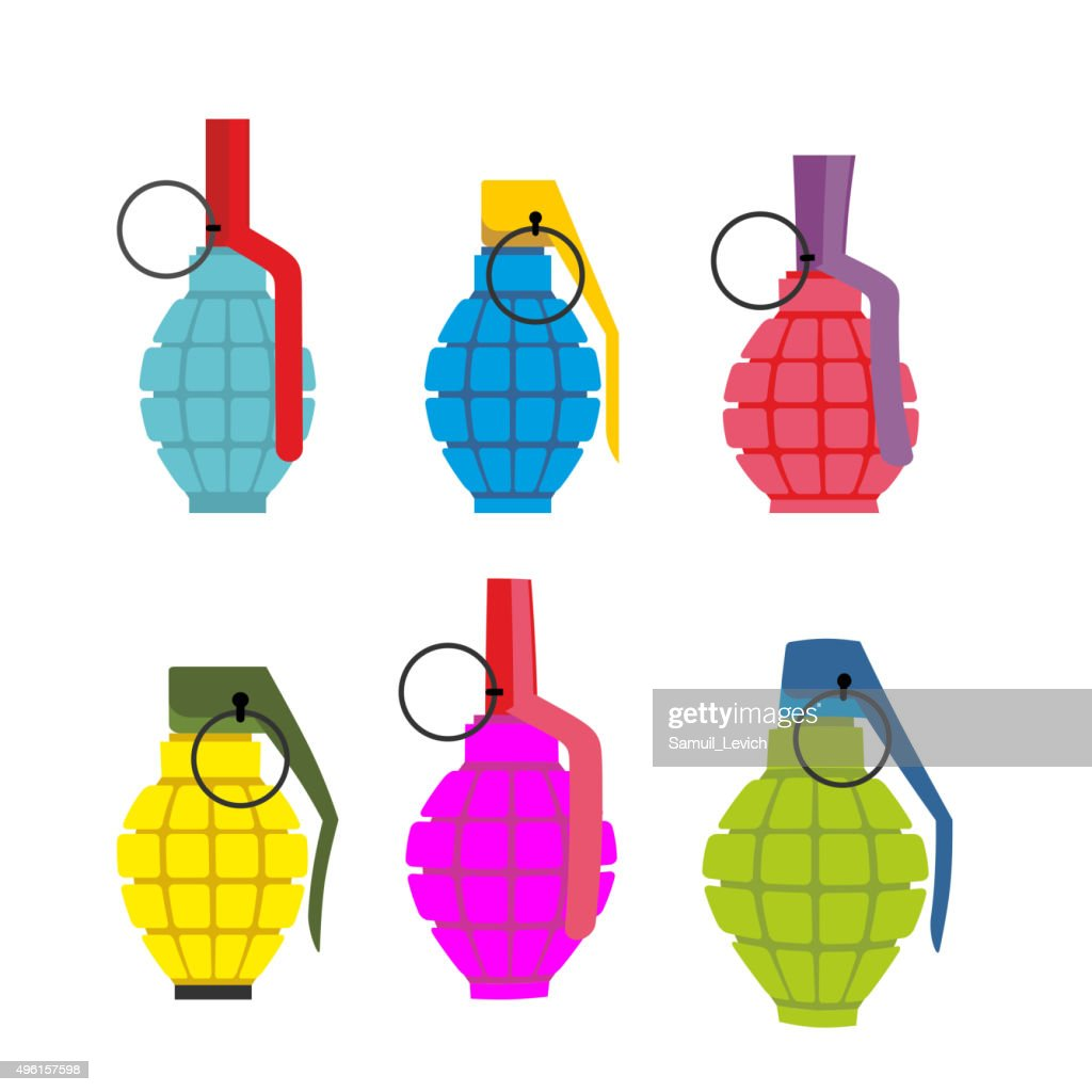 Set colored hand grenades. Fun colorful military ammunition. Arm