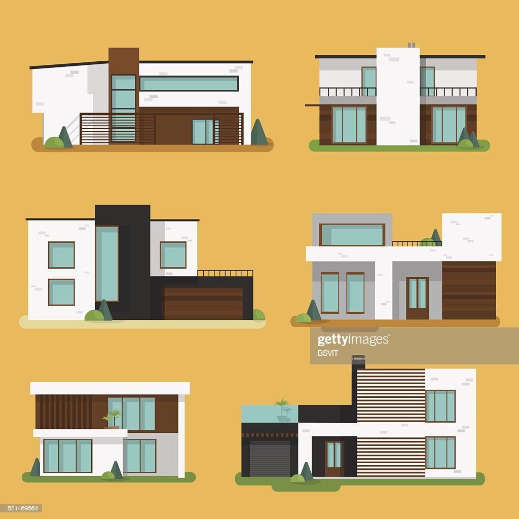 Set Colorful Modern Residential Houses.