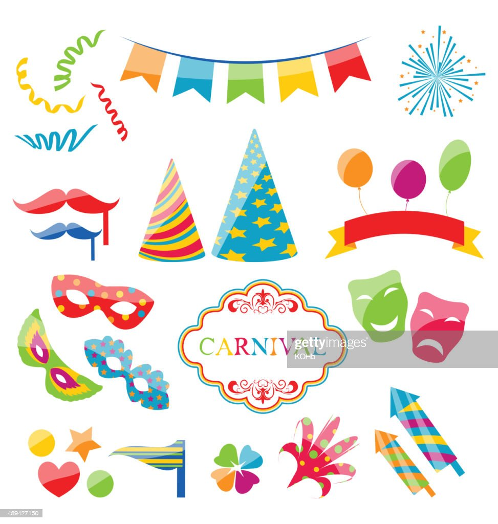 Set colorful objects of carnival, party, birthday