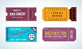 Set colorful tickets: cinema, rock concert, club disco, amusement park