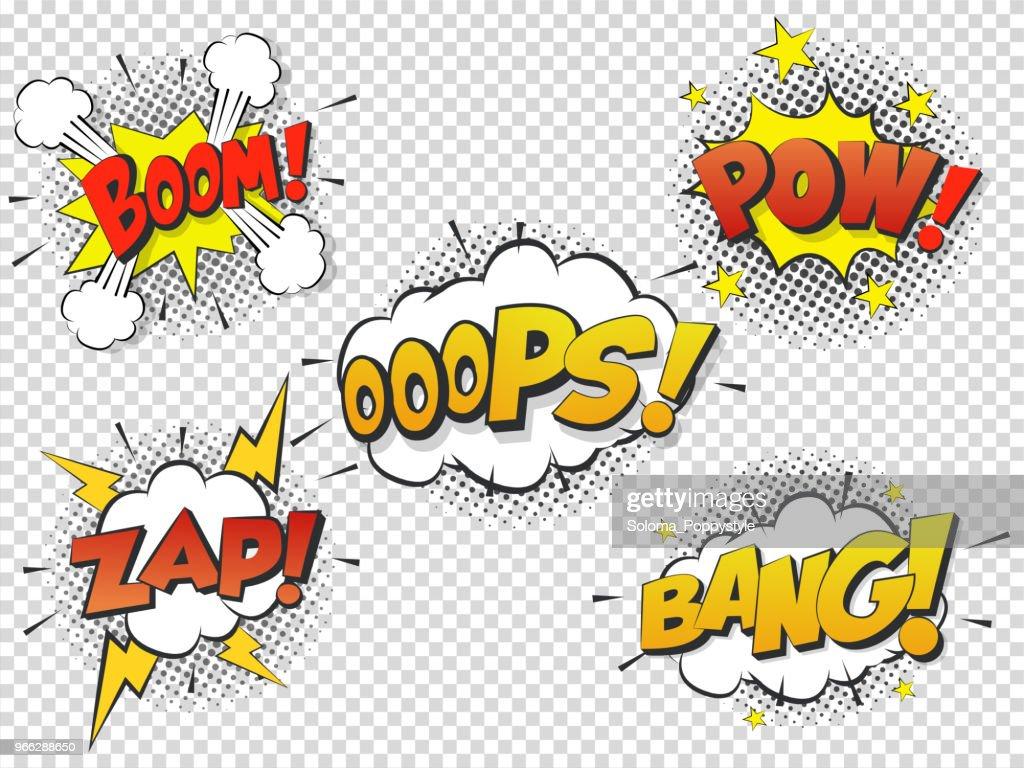 Set Comic speach bubble with prase Boom, Bang, Oops, Pow, Zap. Vector Comic cartoon sound bubble speech.