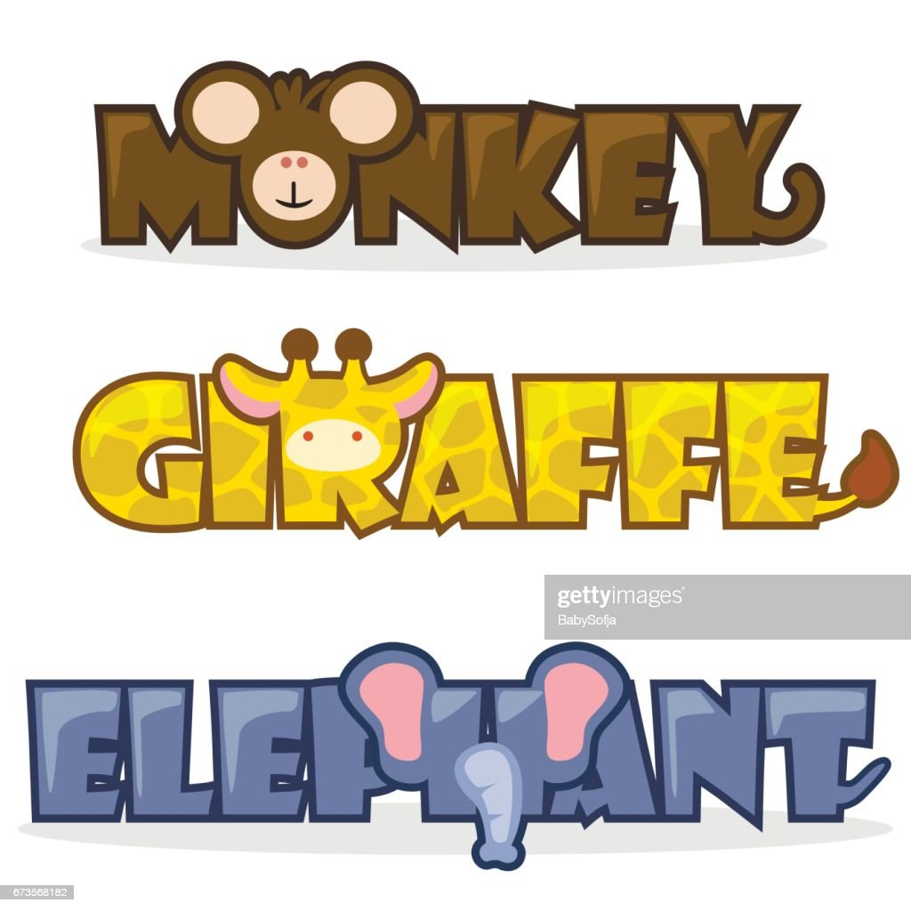 set cute cartoon wild animals