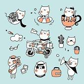 Set Cute Cat Hipster
