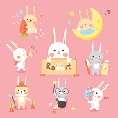 Set Cute rabbit