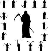Set death with a scythe silhouette