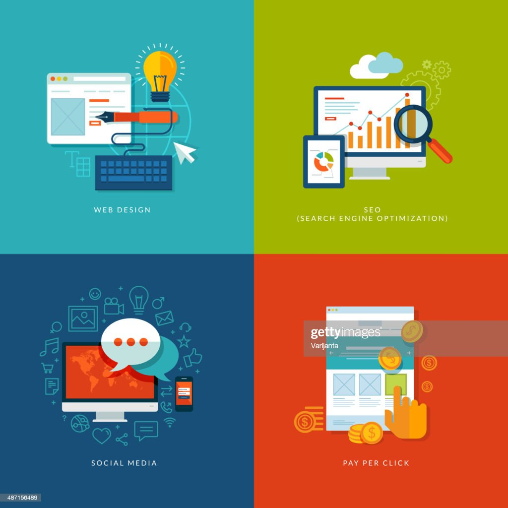 Set design and marketing of flat design concept icons for web