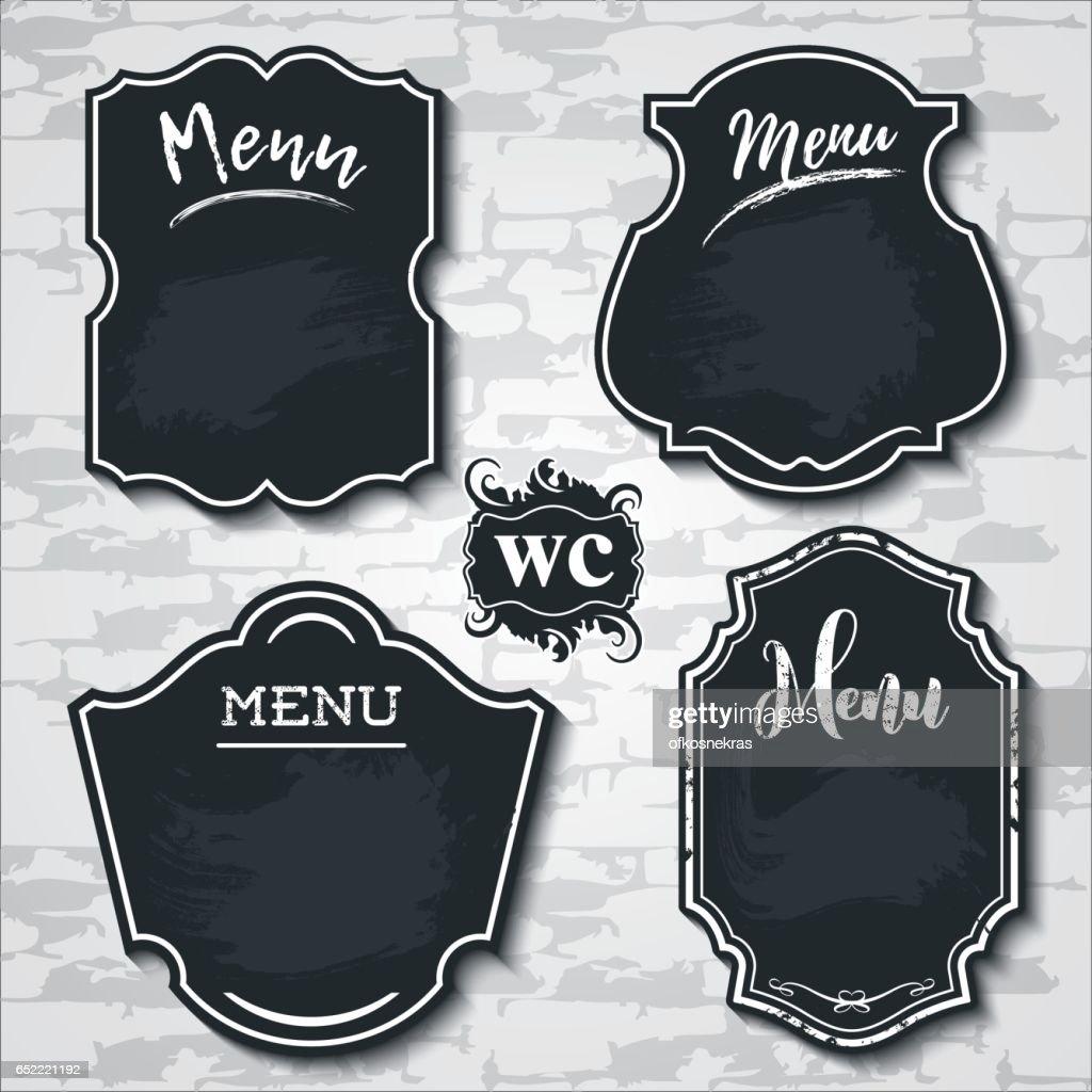 set design elements chalkboard menu vector sample labels shapes_2