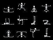 Set design elements: funny skeletons - dancing and yoga