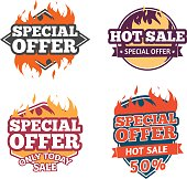 Set design price tag. Badges with special offers, hot sale.