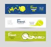 Set designs for tennis. Modern abstract background, hand drawing, textures, geometry. Collection of sports banners, abstract ball.