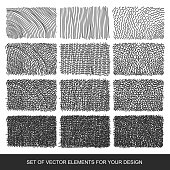 Set drawing gradient texture brushes. Hand-drawn abstract design elements