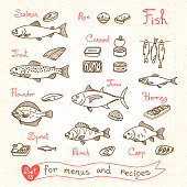 Set drawings of fish for design menus, recipes and packing