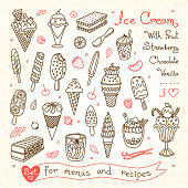 Set drawings of ice cream for design menus, recipes and
