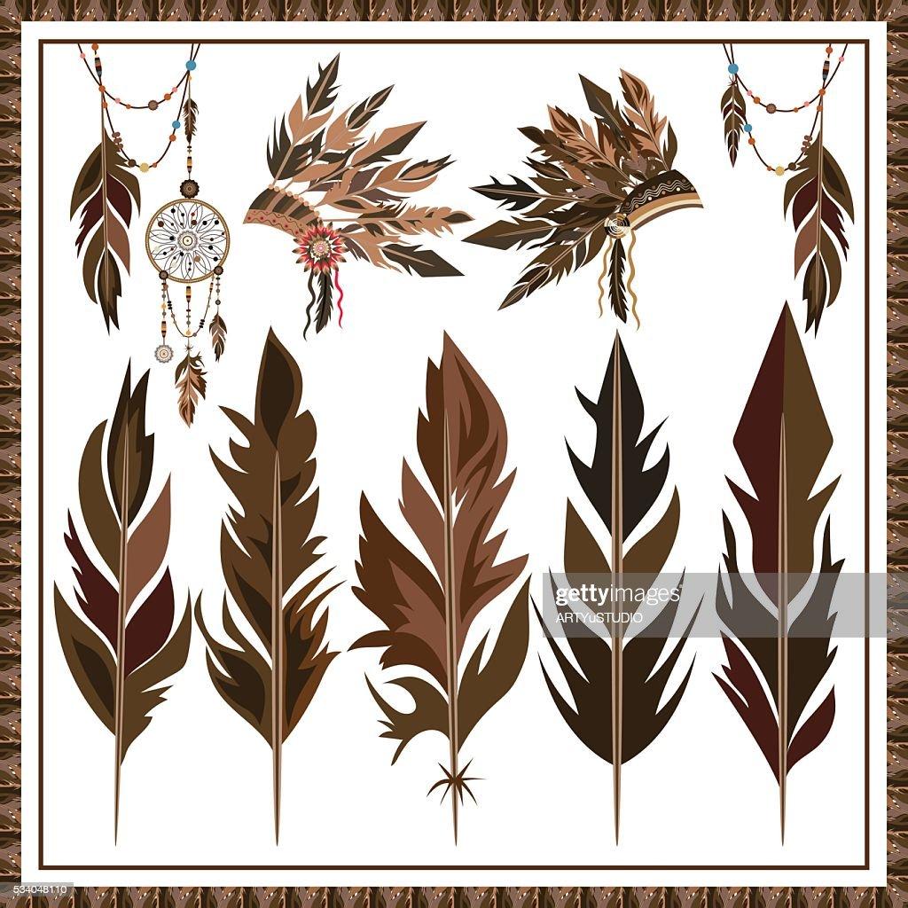 Set Dream Catcher feathers, beads, war bonnet